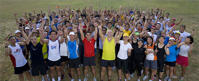 James with participants of the Bull Runner Dream Marathon (co-created by James to help beginners complete their first marathon)